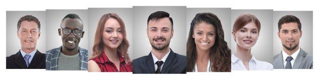 Панорамный коллаж портретов молодых предпринимателей стоковые фотографии rf