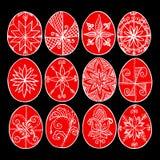 Пасхальные яйца, красные Paschal яйца, украшенные с beeswax - для того чтобы отпраздновать пасху Старая традиция иллюстрация штока