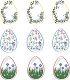 Easter eggs for the holiday, decorated with flowers stock illustration