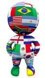 парень 3D с флагами мира над белизной иллюстрация вектора