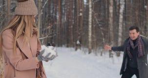 пары outdoors играя детенышей ландшафта часы зимы сезона сток-видео