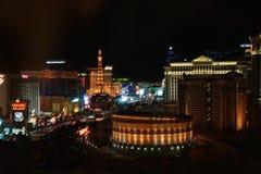 Пейзаж горизонта Лас-Вегас вечером стоковые изображения rf