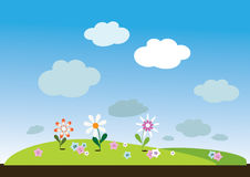 пейзаж с цветами. Small pattern with flowers, meadow or field for the site or book vector illustration