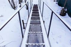 Пешеходный мост утюга в зиме замерзать дня Россия стоковое фото rf