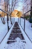 Пешеходный мост утюга в зиме замерзать дня Россия стоковые фотографии rf
