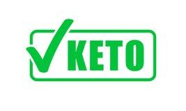 Печать контрольной пометки зеленого цвета ярлыка диеты Keto Ketogenic значок вектора диеты иллюстрация вектора