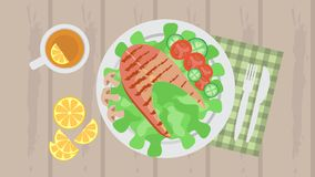 Grilled fish served with vegetables, tea and Cutlery. Grilled fish served with tomatoes, cucumbers and salad, as well as black tea with lemon. There are Cutlery stock illustration