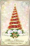 New Year 2019. Christmas tree and Christmas decorations. Christmas tree on a bright background in the frame with an ornament and decoration vector illustration
