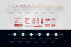 Timeline vector infographic. World map royalty free stock photography