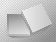 Vector 3d Illustration of opened empty gift box for design, presentation, packing etc isolated on transparent background. Top view. Grey mockup vector illustration