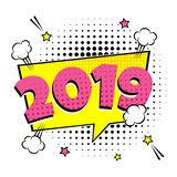 2019 happy new year christmas comic pop art speech bubble vector illustration. Colorful pop art style sound effect. Halftone stock illustration
