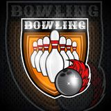 Skittles for bowling and ball with red fire trail in center of shield. Sport logo for any team. Or championship royalty free illustration