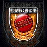 Cricket ball in center of shield. Sport logo for any team vector illustration
