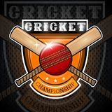 Cricket ball with cros bat in center of shield isolated on blackboard. Sport logo for any team royalty free illustration