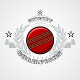 Cricket ball in center of silver wreath isolated on white. Sport logo vector illustration