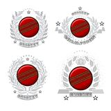 Set of cricket ball in center of silver wreathes. Sport logo for any team royalty free illustration