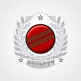 Cricket ball in center of silver wreath from holy. Sport logo for any team royalty free illustration