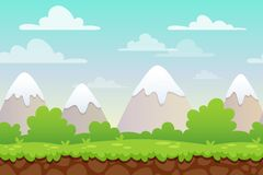 Landscape with grass and mountains. Background for UI game. Background with separated layers for game royalty free stock photos