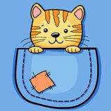 Pocket Cat. Childish print with kitty for t-shirt stock image