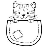 Pocket Cat. Childish print with kitty for t-shirt. Black and white vector illustration for coloring book stock photography