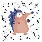 MUSICAL HEDGEHOG Funny Cartoon Animal Set. MUSICAL HEDGEHOG Valentine Day Funny Cartoon Animal Set for Print and Decoration stock illustration