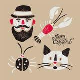 Merry Christmas. Typographic grunge vintage Christmas card design with cartoon man, crayfish, beetle and cat. Retro vector illustr royalty free illustration