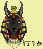 Anubis with hieroglyph image vector illustration