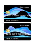 Credit card template black with blue waves set. Front side template. vector illustration