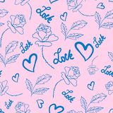Roses and blue hearts painted on a light pink color. Seamless pattern stock illustration