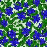 Garden of blue roses with green leaves on a light blue color. Seamless pattern royalty free illustration