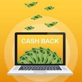 Cash back concept. Money icons for cash back, commerce or transfer payments online service. Vector illustration. Cash back concept. Money icons for cash back stock illustration