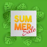 Tropical vector illustration with palm leaves on green background. Sammer Sale lettering banner. Paper art style stock illustration