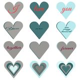 Set of hearts of different pastel colors and shapes. Text I love you, together forever, you are in my heart. For the design of postcards, textiles, dishes to vector illustration