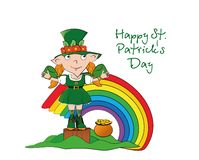 Vector leprechaun girl on stump with a pot of gold coins near the rainbow. Happy St. Patricks Day. royalty free illustration