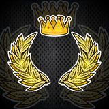 Golden crown with wreath in center. Heraldic background for any spport elements. Golden crown with wreath in center. Heraldic background vector illustration