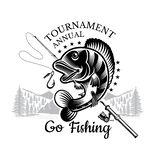 Perch fish bend with fishing rod and landscape backside in engrving style. Logo for fishing, championship and sport club. On white stock illustration