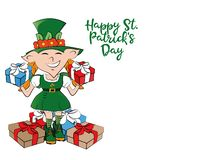 Leprechaun girl with presents. Happy St. Patricks Day celebration. royalty free illustration