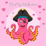 Happy Valentine`s Day lettering Vector isolated illustration with Cute Pink Pirate octopus. Print for T-shirt or children book stock illustration