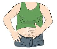 Fat man with a big belly. vector illustration.  vector illustration