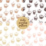 Set of vector seamless muffin patterns vector illustration