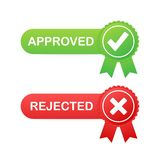 Approved and rejected label sticker icon on white background. Vector illustration. vector illustration