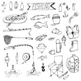 Doodle fishing rods floats. Hooks, boat, tackle vector illustration