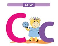 Letter C and funny cartoon cow. Animals alphabet a-z. Cute zoo alphabet in vector for kids learning English vocabulary. Printable. Letter C and funny cartoon cow royalty free illustration