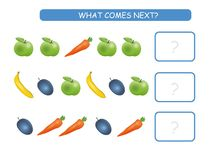 What comes next educational kids game. Children activity sheet, training logic, continue the row with fruits and vegetables. stock illustration