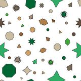 Green, brown vector seamless layout with circles, stars royalty free illustration