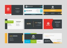 A set of one-sided corporate business cards for printing. Set Contains 9 templates of beautiful, one-sided business cards for printing, in the format of EPS 10 stock illustration
