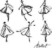 set of graphic hand-drawn ballerinas in different dancing poses royalty free illustration
