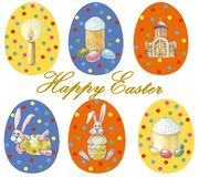 Card `Happy Easter` Set of multicolored easter eggs with different pattern and illustration in easter`s theme isolated on white vector illustration