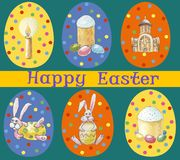 Card `Happy Easter` Set of multicolored easter eggs with different pattern and illustration in easter`s theme on green vector illustration