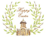 Happy Easter New Ukrainian greek catholic church isolated in white background and frame of green branches for postcard or card or royalty free illustration